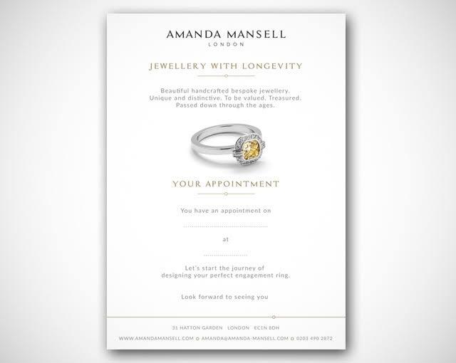 Bespoke engagement ring consultation appointment card