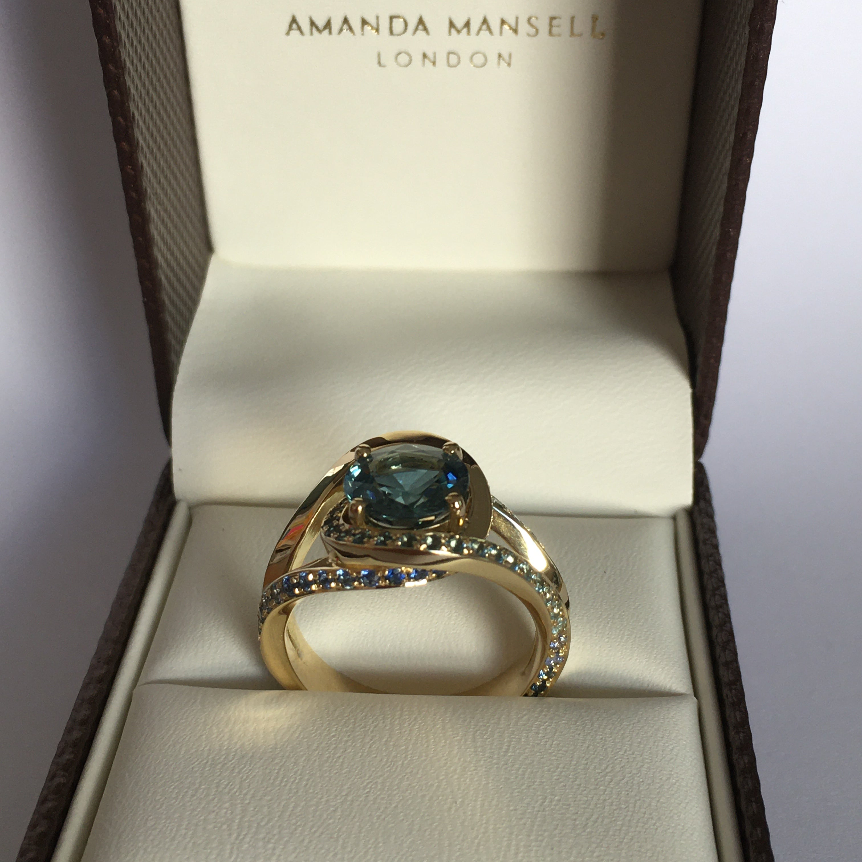 Ghazala finished remodelled bespoke 18ct gold and sapphire ring