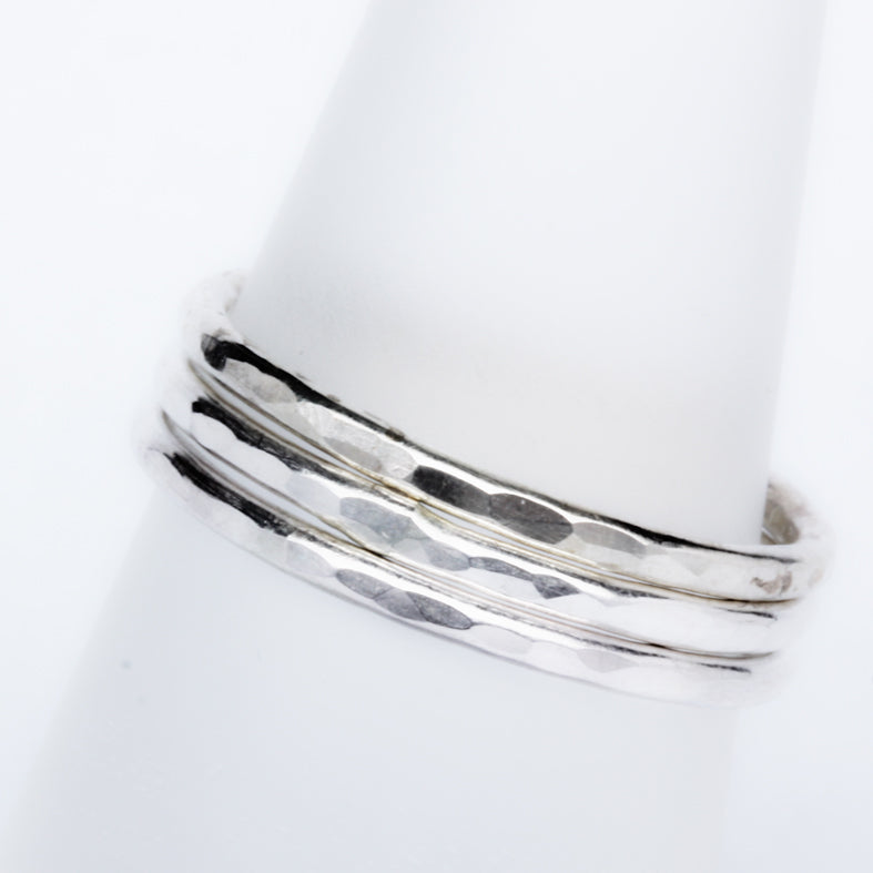 stack ring friendship ring textured bright silver stackit ring