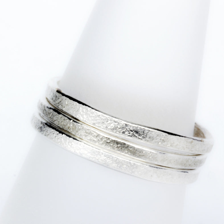 Stack ring friendship ring textured satin silver Stackit ring