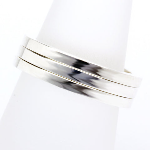 Stack ring ~ Flat Shiny Silver