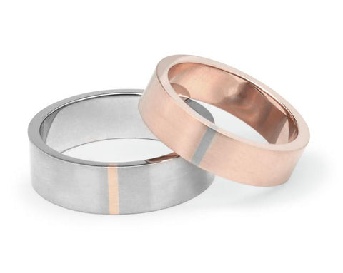 Stripe Wedding Ring - Rose Gold