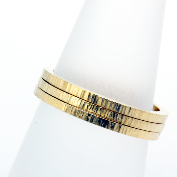 Stack ring ~ Skinny Ripple Gold Vermeil