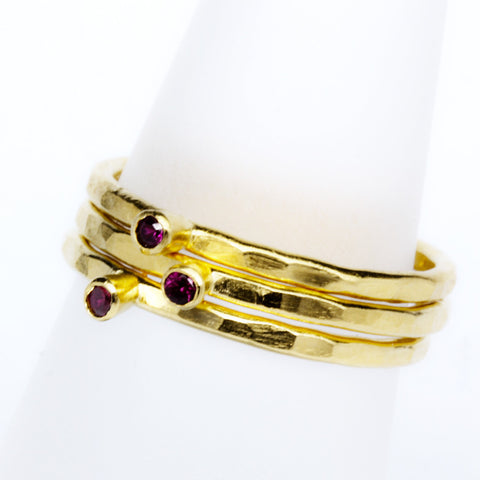 Stack Ring ~ Ruby Gold Vermeil