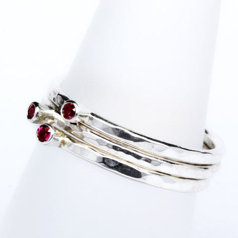 Stack Ring ~ Ruby Silver