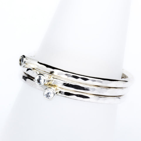 Stack Ring ~ Chrystal Silver