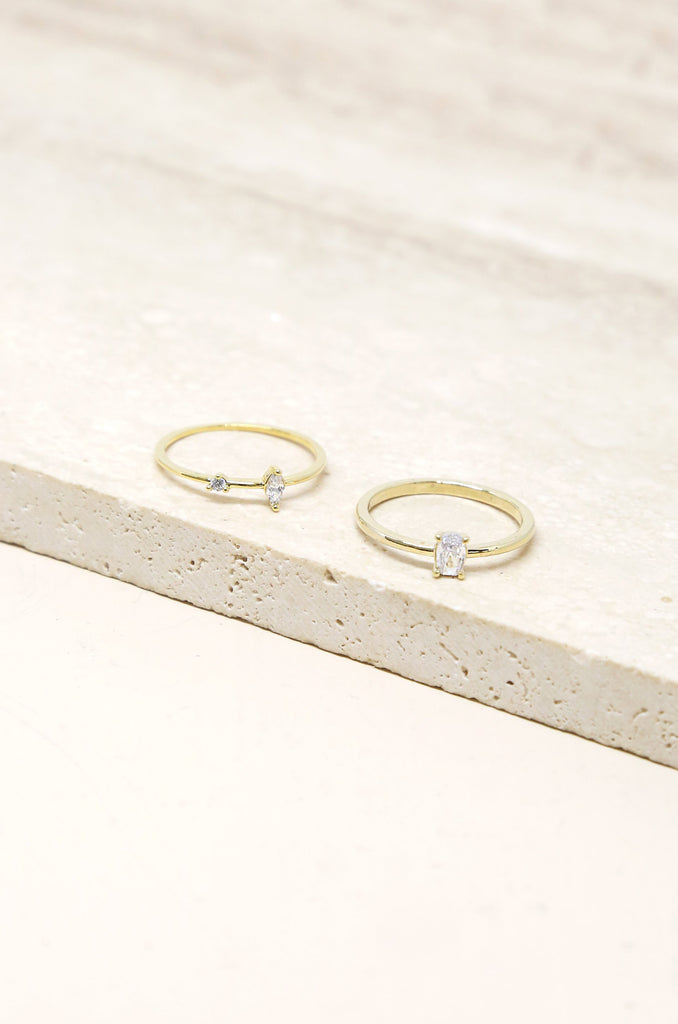 Stackable Crystal & Thin Band Gold Ring Set