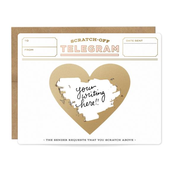 Inklings Paperie - Pink & Gold Telegram Scratch-off Card