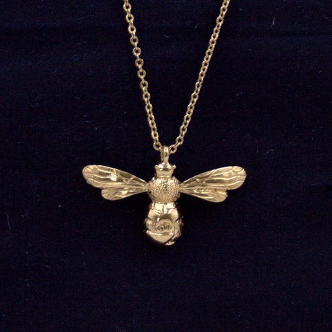 Gold Short Bee Necklace