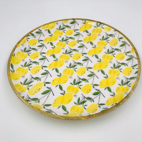 Wood & Enamel Lemon Platter