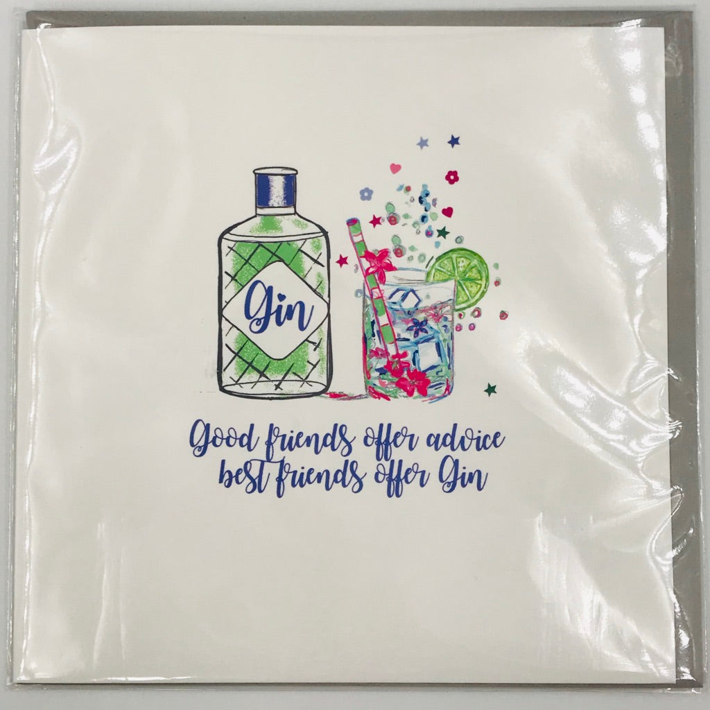 Good friends offer gin - Card