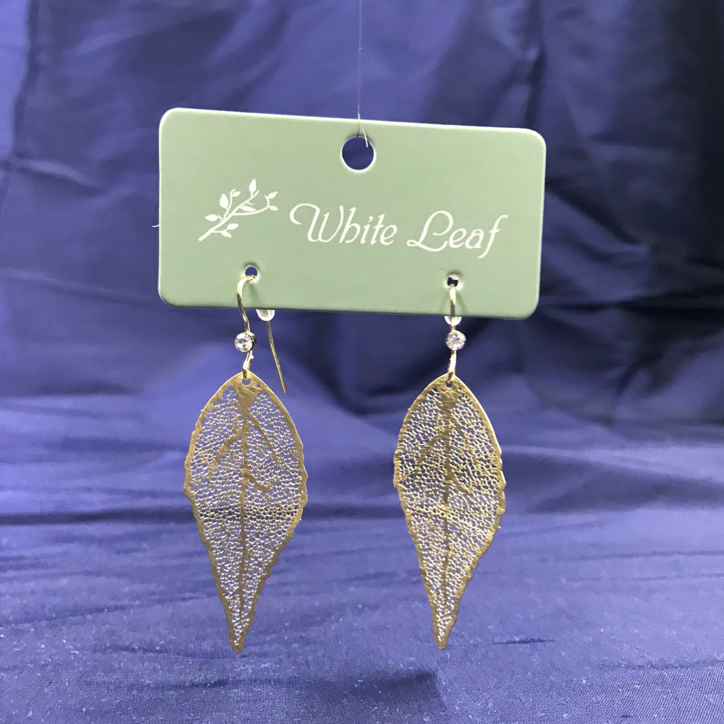 Gold Leaf Drop Earrings