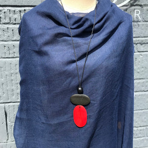 Wooden Disc Pendant - Red