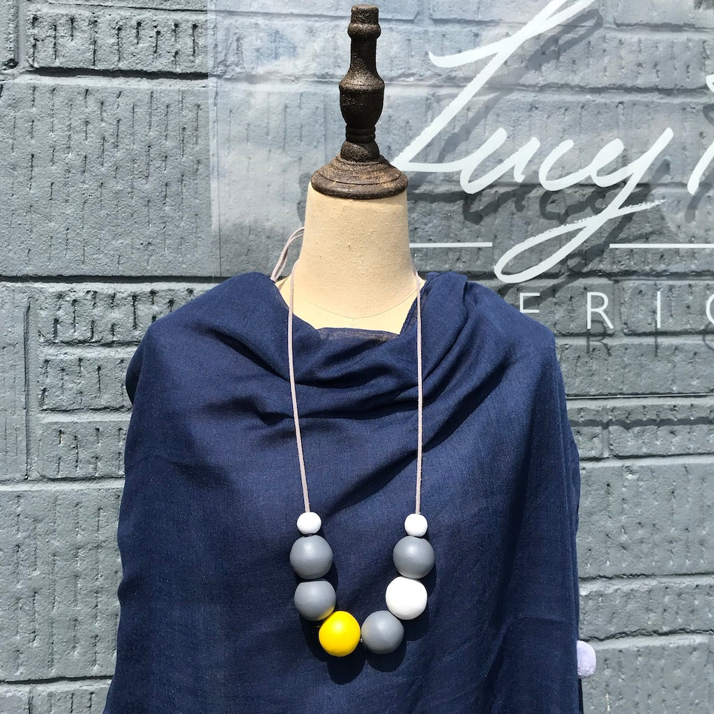 Wooden Ball Necklace - Yellow