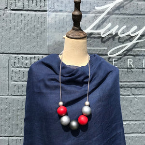 Wooden Ball Necklace - Red