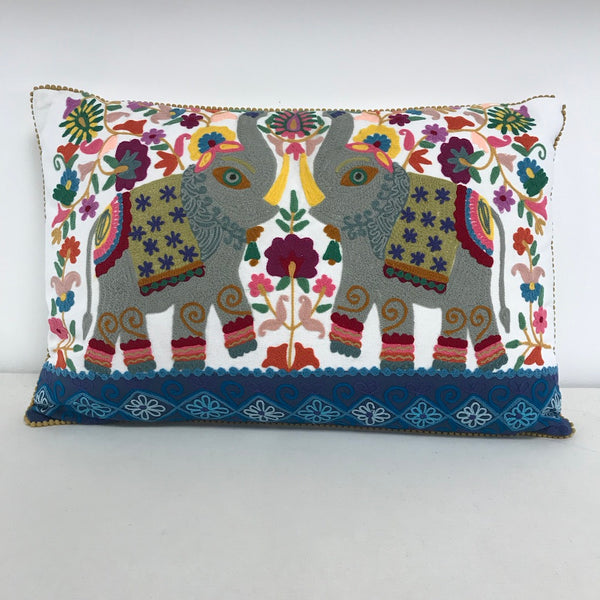 Embroidered Elephant Cushion