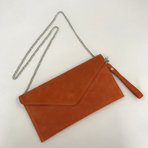 Suede Envelope Cutch with Chain Strap