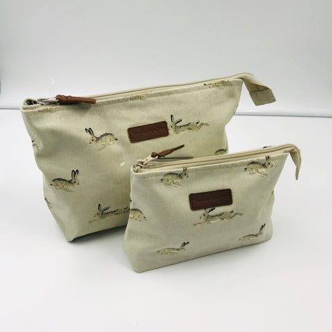 Canvas Wash / Makeup Bag - Hare
