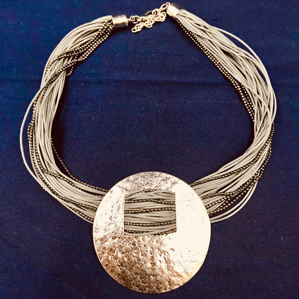 Silver Disc Multi-Strand Necklace