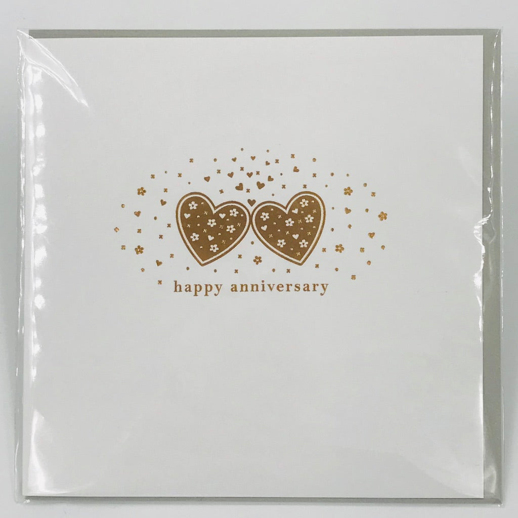 Happy Anniversary gold heart - Card