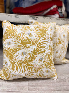Ochre Yellow Feather Cushions