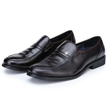 Mens Metal Pure Color Slip On Flat Business Formal Shoes