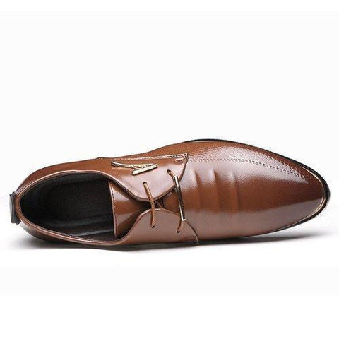 Men Pointed Toe Classic Rivet Decoration Lace Up Formal Casual Dress Shoes