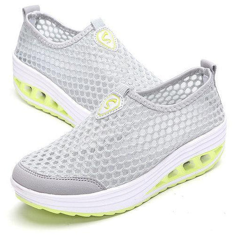 Mesh Breathable Pure Color Slip On Athletic Platform Casual Sport Shake Shoes