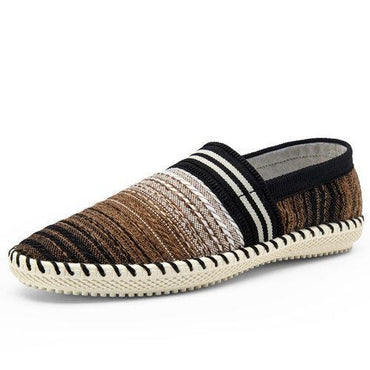 Stripe Woven Linen Cloth Breathable Soft Flat Loafers For Men