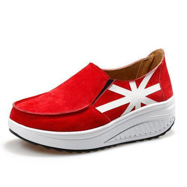 Breathable Leather Outdoor Slip On Platform Casual Swing Shoes