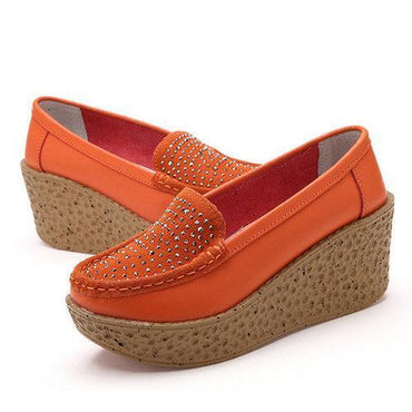 Beaded Pattern Platform Leather Rivet Casual Shoes For Women
