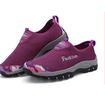 Big Size Mesh Color Blocking Breathable Slip On Casual Outdoor Shoes