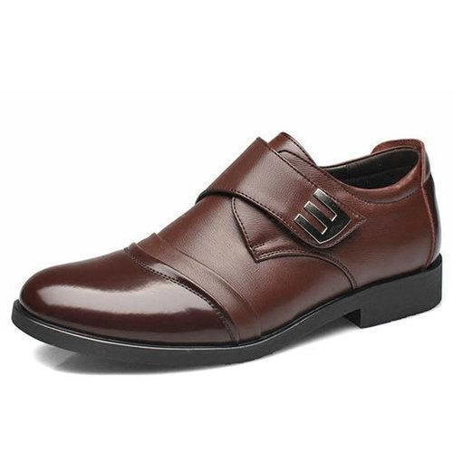 Men Classic Color Blocking Hook-Loop Business Casual Leather