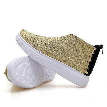 Woven Zipper Knitting High Top Breathable Flat Casual Shoes