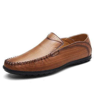 Men Vintage Breathable Flat Slip On Leather Business Casual