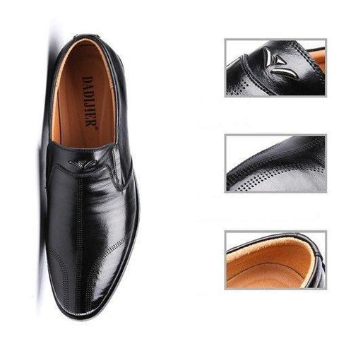 Men Vintage Pointed Toe Breathable Slip On Leather Dress Shoes