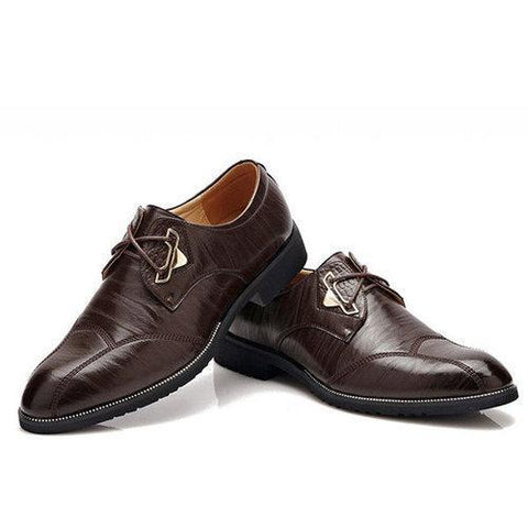 Men Vintage British Style Pointed Toe Business Casual Lace Up Dress Shoes