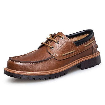 Large Size Men Genuine Leather Breathable Round Toe Soft Cas