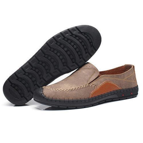 Men Hand Stitching Anti-collision Toe Slip On Oudoor Casual Shoes