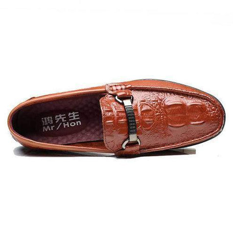 Men Luxury Crocodile Pattern Cow Leather Classic Loafers Slip On Doug Shoes