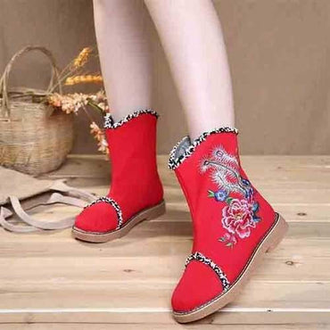 Embroidered Flower Warm Fur Lining Folkways Mid Calf Flat Boots
