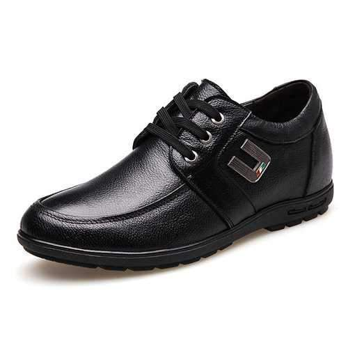Men Cow Leather Increased Heel Casual Shoes