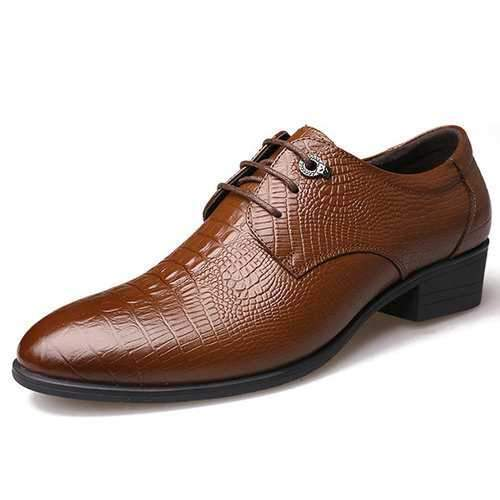 Men's Crocodile Pattern Classic Dress Shoes
