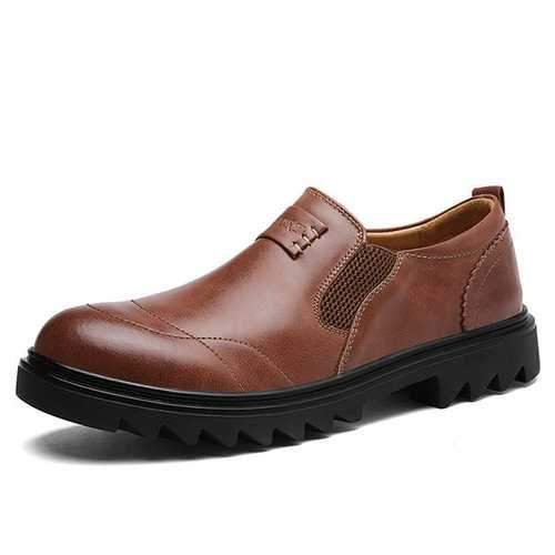 Men Wide Head Comfy Wearable Leather Shoes