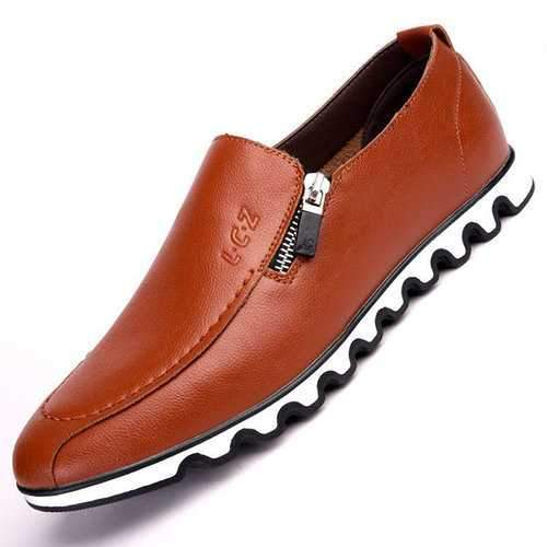 Men Microfiber Leather Side Zipper Flat Slip On Casual Shoes