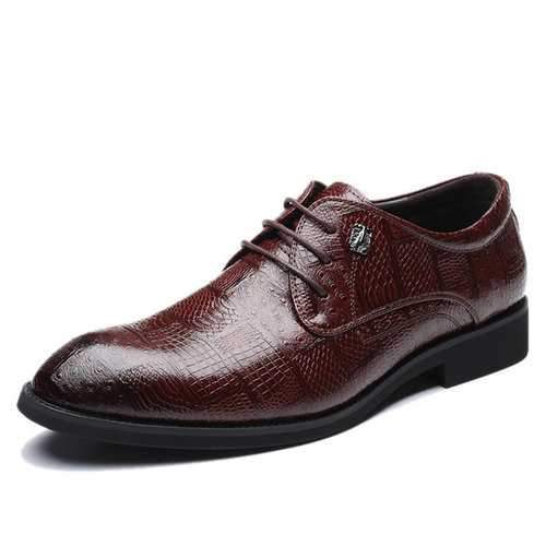 Men Crocodile Pattern Microfiber Leather Business Shoes