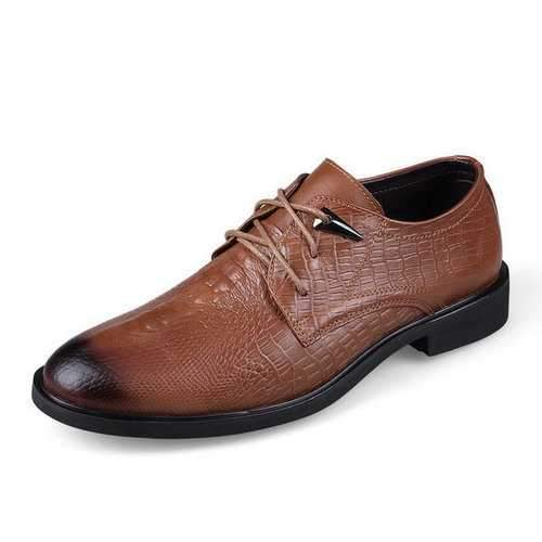 LANMARH Men Cow Leather Crocodile Pattern Business Shoes