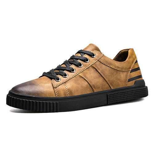Men Leather Retro Color Lace Up Casual Shoes