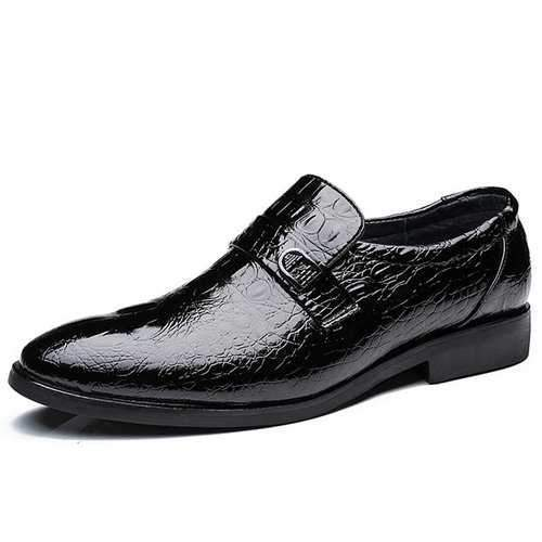 Men Crocodile Pattern Pointed Toe Cow Leather Business Shoes