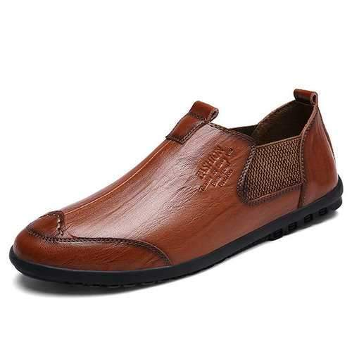 Men Cow Leather Slip On Soft Sole Casual Shoes